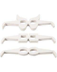 Lunettes, H: 4,5-10 cm, L: 32 cm, 230 gr, blanc, 160 pièce/ 1 Pq.