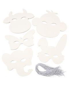 Masques d'animaux, H: 13-24 cm, L: 20-28 cm, 230 gr, blanc, 100 pièce/ 1 Pq.