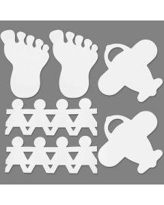 Formes poinçonnées décoratives, dim. 12-27 cm, blanc, 96 pièce/ 1 Pq.
