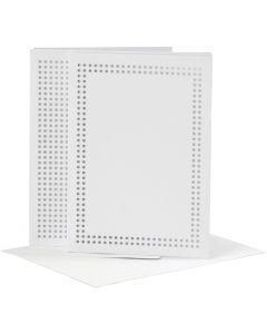 Carte pour broderie, dimension carte 10,5x15 cm, dimension enveloppes 11,5x16,5 cm, blanc, 6 pièce/ 1 Pq.