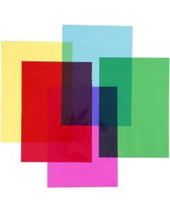 Cellophane, 210x297 mm, couleurs assorties, 5x20 flles/ 1 Pq.