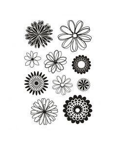 Tampons transparents, fleurs, 11x15,5 cm, 1 flles