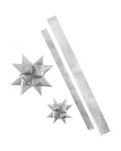 Bandes de papier étoiles, L: 86+100 cm, d: 11,5+18,5 cm, L: 25+40 mm, argent scintillant, 16 bandes/ 1 Pq.