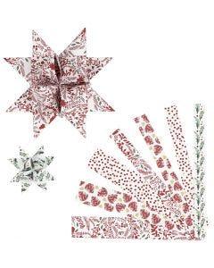 Bandes de papier étoiles, L: 44+78 cm, L: 15+25 mm, d: 6,5+11,5 cm, rouge, blanc, 48 bandes/ 1 Pq.