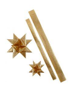 Bandes de papier étoiles, L: 86+100 cm, L: 25+40 mm, d: 11,5+18,5 cm, glitter or, 16 bandes/ 1 Pq.