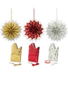 Étoile en sac en papier, or, vert, rouge, blanc, 3x10 Pq./ 1 Pq.