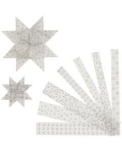 Bandes de papier étoiles, L: 44+78 cm, d: 6,5+11,5 cm, L: 15+25 mm, argent, blanc, 48 bandes/ 1 Pq.