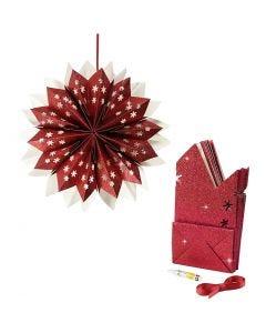 Étoile en sac en papier, 200 gr, rouge, 1 set