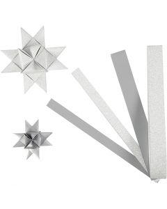 Bandes de papier étoiles, L: 44+78 cm, d: 6,5+11,5 cm, L: 15+25 mm, paillettes,vernis, argent, 40 bandes/ 1 Pq.