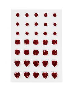 Pierres de strass, rond, carré, coeur, dim. 6+8+10 mm, rouge, 35 pièce/ 1 Pq.
