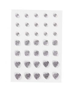 Pierres de strass, rond, carré, coeur, dim. 6+8+10 mm, argent, 35 pièce/ 1 Pq.