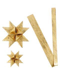 Bandes de papier étoiles, L: 44+78 cm, d: 6,5+11,5 cm, L: 15+25 mm, or, 32 bandes/ 1 Pq.