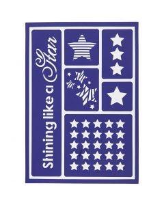 Pochoir souple, shining like a star, 21x14,8 cm, 1 pièce