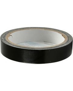 Ruban tissu, L: 19 mm, noir, 25 m/ 1 rouleau