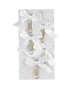Attaches trombones métalliques, dim. 40x70 mm, blanc, 5 pièce/ 1 Pq.