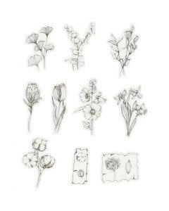 Autocollants en ruban adhésif de masquage, fleurs blanc/noir, dim. 30-50 mm, 30 pièce/ 1 Pq.