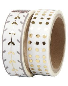 Ruban adhésif Washi Tape, coeurs et points - film, L: 15 mm, or, blanc, 2x4 m/ 1 Pq.