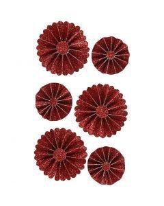 Rosettes en papier, d: 35+50 mm, glitter rouge, 6 pièce/ 1 Pq.