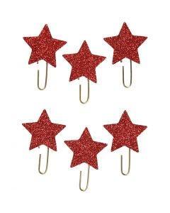 Trombonnes métalliques, Étoile, d: 30 mm, glitter rouge, 6 pièce/ 1 Pq.