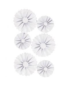 Rosettes en papier, d: 35+50 mm, glitter blanc, 6 pièce/ 1 Pq.