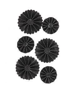 Rosettes en papier, d: 35+50 mm, glitter noir, 6 pièce/ 1 Pq.
