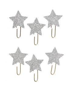 Trombonnes métalliques, Étoile, d: 30 mm, argent scintillant, 6 pièce/ 1 Pq.