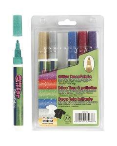 Feutres textile Glitter Deco, paillettes, trait 3 mm, couleurs scintillantes, 6 pièce/ 1 Pq.