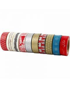 Bande adhésive Washi Tape, Noël, L: 15 mm, 10x10 m/ 1 Pq.