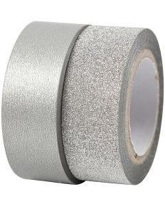 Ruban adhésif design, L: 15 mm, argent, 2 rouleau/ 1 Pq.