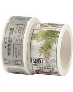 Ruban adhésif Washi Tape, L: 3+5 m, L: 20+25 mm, 2 rouleau/ 1 Pq.