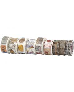 Ruban adhésif Washi Tape, L: 3+5 m, L: 15+25 mm, 9 rouleau/ 1 Pq.