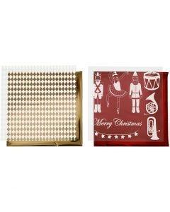 Film décoratif et feuille de papier transfert, casse-noisette, Père Noël et ballerine, 15x15 cm, or, rouge, blanc, 4 flles/ 1 Pq.