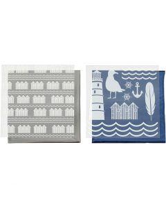 Film décoratif et feuille transfert, phare, 15x15 cm, bleu, argent, 2x2 flles/ 1 Pq.