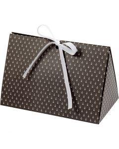 Boîte cadeau à plier, ancres, dim. 15x7x8 cm, 250 gr, gris foncé, blanc, 3 pièce/ 1 Pq.