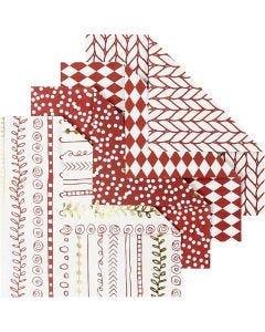 Papier Origami, dim. 10x10 cm, 80 gr, rouge, 40 flles/ 1 Pq.