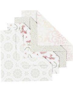 Papier Origami, dim. 15x15 cm, 80 gr, vert, gris, rouge clair, blanc, 40 flles/ 1 Pq.