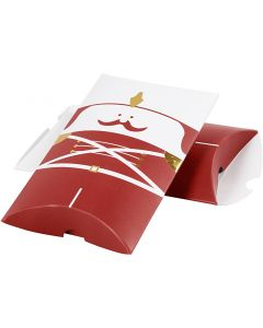 Boîte d'emballage à plier, casse-noisette, dim. 14,9x9,4x2,5 cm, 300 gr, or, rouge, blanc, 3 pièce/ 1 Pq.