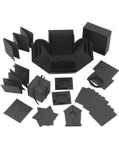 Boîte explosion, dim. 7x7x7,5+12x12x12 cm, noir, 1 pièce