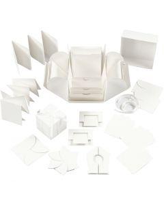Boîte explosion, dim. 7x7x7,5+12x12x12 cm, blanc cassé, 1 pièce