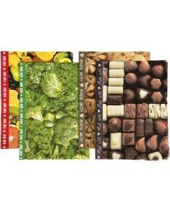 Papier découpage , 25x35 cm, 17 gr, brun, vert, jaune, 8 flles ass./ 1 Pq.