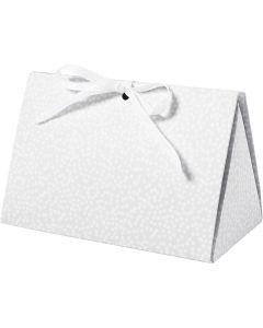 Boîte cadeau à plier, points, dim. 15x7x8 cm, 250 gr, gris, 3 pièce/ 1 Pq.