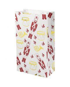 Sac en papier, casse-noisette, H: 21 cm, dim. 6x12 cm, or, rouge, blanc, 8 pièce/ 1 Pq.