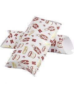 Boîte d'emballage à plier, casse-noisette, dim. 23,9x15x6 cm, 300 gr, or, rouge, blanc, 3 pièce/ 1 Pq.