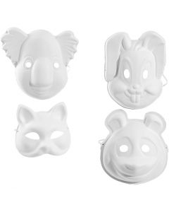 Masques, H: 17-25 cm, L: 18-24 cm, blanc, 4x3 pièce/ 1 Pq.