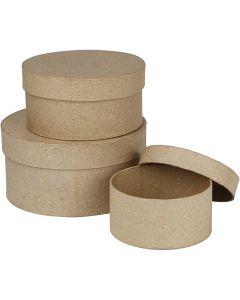 Boîtes rondes, H: 5+6,5+7,5 cm, d: 10+13+16 cm, 3 pièce/ 1 set