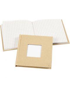 Carnet de notes, dim. 10x10 cm, 60 gr, brun, 1 pièce