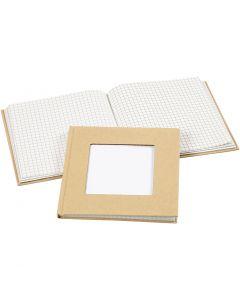 Carnet de notes, dim. 14x14 cm, 60 gr, brun, 1 pièce