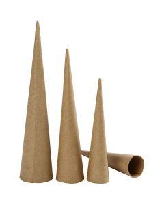 Cônes hauts, H: 20-25-30 cm, d: 4-5-6 cm, 3 pièce/ 1 Pq.