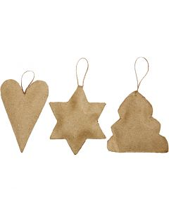 Ornements Noël, coeur, étoile, arbre de Noël, dim. 8-9 cm, 9 pièce/ 1 Pq.