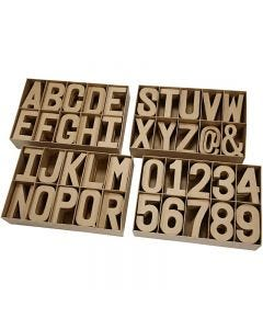 Chiffres, Lettres et symboles en papier mâché, H: 20,50 cm, ép. 2,5 cm, 160 pièce/ 1 Pq.